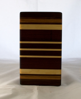 "Small Board 17 - 235. Purpleheart, Cherry, Black Walnut & Pau Ferro. 6"" x 11"" x 1-1/4""."