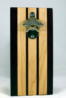 Magic Bottle Opener 17 - 644. Purpleheart & Hard Maple. Double Magic - means it can fridge mount or wall mount.