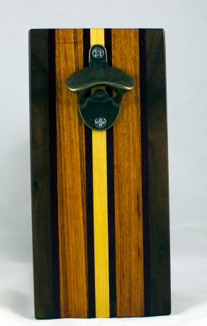 Magic Bottle Opener 17 - 648. Black Walnut, Purpleheart, Canarywood & Yellowheart. Double Magic - means it can fridge mount or wall mount.