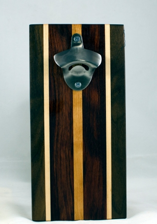 Magic Bottle Opener 17 - 650. Black Walnut, Hard Maple, Bubinga & Cherry. Double Magic - means it can fridge mount or wall mount.