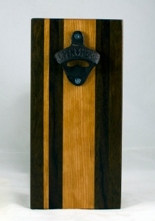 Magic Bottle Opener 17 - 653. Black Walnut, Cherry & Jatoba. Double Magic - means it can fridge mount or wall mount.