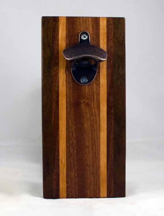 Magic Bottle Opener 17 - 655. Sapele, Cherry & Black Walnut. Double Magic - means it can fridge mount or wall mount.