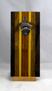 Magic Bottle Opener 17 - 671. Black Walnut, Teak, Yellowheart & Canarywood. Double Magic.