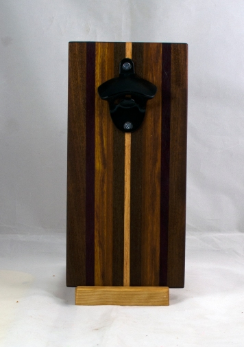 Magic Bottle Opener 17 - 673. Black Walnut, Purpleheart, Canarywood & Hard Maple. Double Magic.