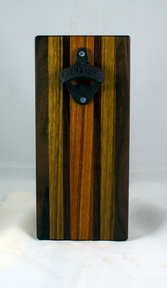 Magic Bottle Opener 17 - 912. Black Walnut, Canarywood, Purpleheart & Teak. Single Magic = Wall mount only!