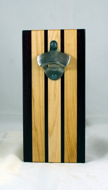 Magic Bottle Opener 17 - 913. Purpleheart & Hard Maple. Single Magic = Wall mount only!