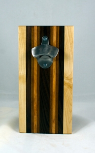 Magic Bottle Opener 17 - 914. Hard Maple, Pau Ferro, Canarywood & Sapele. Single Magic = Wall mount only!