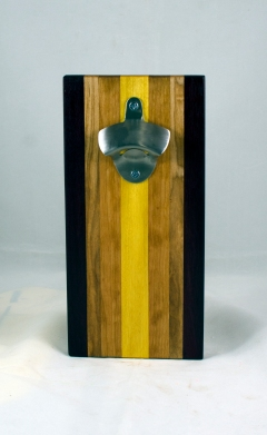 Magic Bottle Opener 17 - 916. Purpleheart, Hard Maple, Cherry & Yellowheart. Single Magic = Wall mount only!