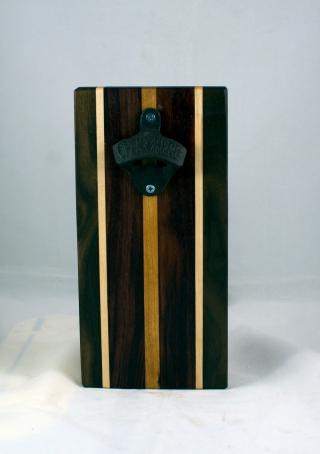 Magic Bottle Opener 17 - 918. Black Walnut, Hard Maple, Bubinga & Cherry. Single Magic = Wall mount only!