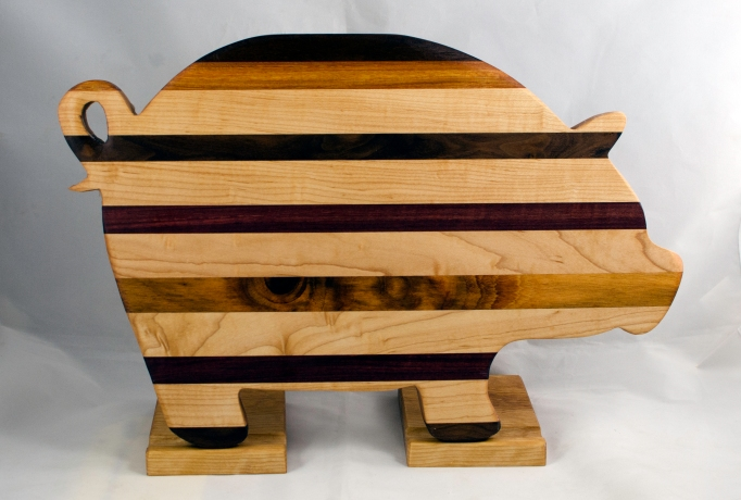 "Pig 17 - 701. Black Walnut, Canarywood, Hard Maple, Goncalo Alves & Purpleheart. 12"" x 19"" x 1-1/8""."