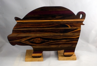 "Pig 17 - 702. Goncalo Alves, Cherry & Black Walnut. 12"" x 19"" x 1-1/8""."
