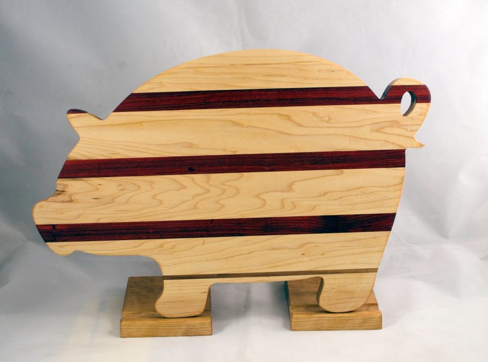 "Pig 17 - 706. Hard Maple, Padauk & Cherry. 12"" x 19"" x 1-1/8""."