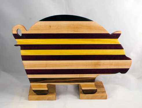 "Pig 17 - 706. Black Walnut, Hard Maple, Cherry, Goncalo Alves, Purpleheart & Yellowheart.12"" x 19"" x 1-1/8""."