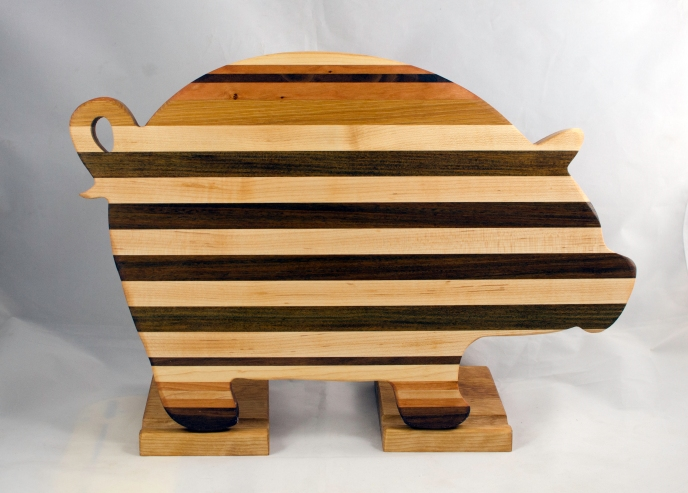 "Pig 17 - 709. Hard Maple, Cherry, Black Walnut & Jatoba. 12"" x 19"" x 1-1/8""."