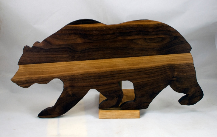 "Bear 17 - 01. Black Walnut. 10"" x 19"" x 3/4""."