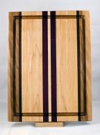 "Cutting Board 17 - 132. Hard Maple, Black Walnut & Purpleheart. Juice Groove. Edge Grain. 12"" x 16"" x 1-1/8""."