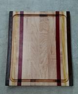 "Cutting Board 17 - 133. Jatoba, Hard Maple, Yellowheart & Purpleheart. Edge grain, Juice groove. 12"" x 16"" x 1-1/8""."