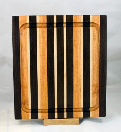 "Cutting Board 17 - 137. Jatoba, Honey Locust & Hard Maple. Edge grain, Juice groove. 14"" x 11"" x 1-1/8""."