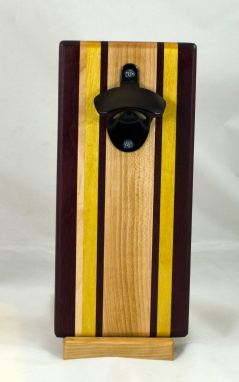 Magic Bottle Opener 17 - 937. Purpleheart, Hard Maple & Yellowheart. Double Magic.