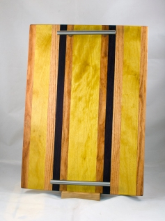 "Serving Tray 17 - 04. Honey Locust, Yellowheart & Purpleheart. 12"" x 18"" x 3/4""."