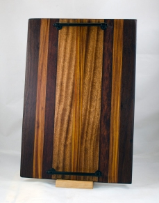 "Serving Tray 17 - 05. Black Walnut, Canarywood, Merbau & Sapele. 12"" x 18"" x 3/4""."