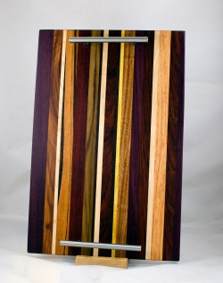 "Serving Tray 17 - 06. Purpleheart, Canarywood, Goncalo Alves, Hard Maple, Padauk, Yellowheart, Honey Locust & Jatoba. Chaos Board. 12"" x 18"" x 3/4""."