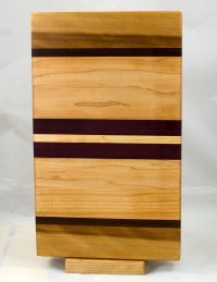 "Small Board 17 - 240. Hard Maple, Black Walnut & Purpleheart. 7"" x 13"" x 1-1/8""."
