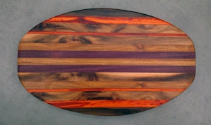 Cheese & Cracker Server 17 - 09. Black Walnut, Padauk, Purpleheart & Goncalo Alves. Sold in its first showing.