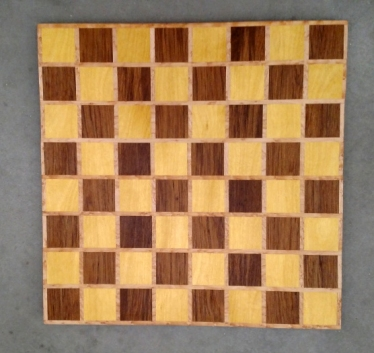 Chess 17 - 311. Yellowheart, Teak & Birds Eye Maple.