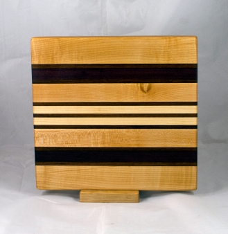 "Small Board 17 - 242. Hard Maple, Purpleheart & Jatoba. 10"" x 11"" x 1""."