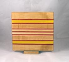 """Small Board 17 - 245. Hard Maple, Padauk & Yellowheart. 10"""" x 11"""" x 1""""."""