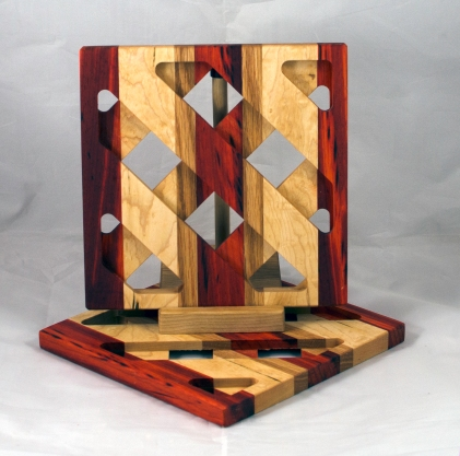 Trivet 17 - 08. Padauk, Hard Maple, & Cherry. Sold in its first showing.
