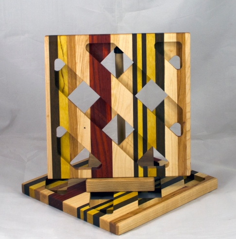 Trivet 17 - 11. Hard Maple, Jatoba, Yellowheart, Cherry & Padauk.