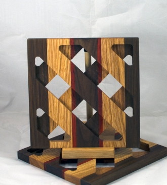 Trivet 17 - 12. Black Walnut, Oak & Padauk.