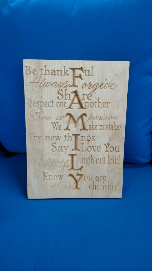 "CNC Sign 18 - 01. Family. 12"" x 16"". Hard Maple."