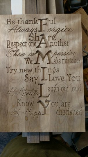 "CNC Sign 18 - 02. Family. 12"" x 16"". Hard Maple. Sold in its first showing."