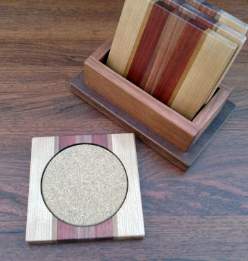 Coasters 18 - 04. Cherry, Teak, Bloodwood, Morado & Cork. Shown with Jatoba holder.
