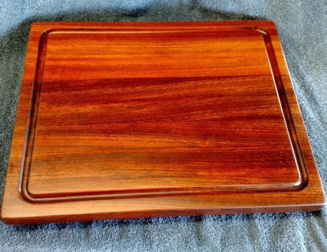 "Cutting Board 18 - 302. Jatoba. Edge Grain, Juice Groove. 14"" x 18"" x 1-1/4""."