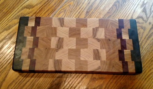 "Cutting Board 18 - 701. Black Walnut, Hickory & Bloodwood. End Grain. 8"" x 13"" x 1-1/2""."