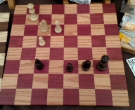 """Chess 18 - 01. Purpleheart & Red Oak. 2"""" Squares. Sold in its first showing."""