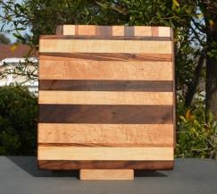 """Cheese Board 18 - 106. Goncalo Alves, Hard Maple, Black Walnut & Birds Eye Maple. Chaos Board. 9"""" x 11"""" x 5/8""""."""