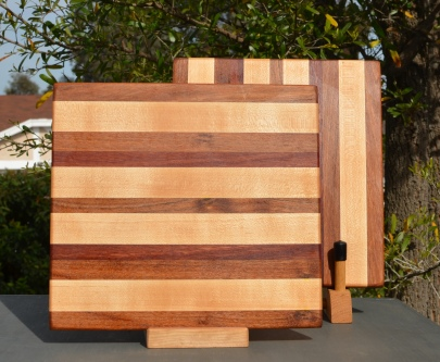 "Cheese Board 18 - 109. Mesquite, Jarrah & Hard Maple. 10"" x 11"" x 5/8""."