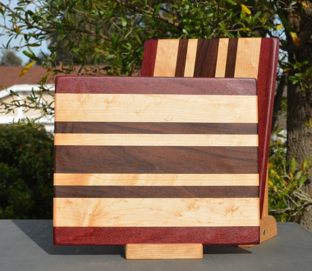 "Cheese Board 18 - 111. Purpleheart, Hard Maple & Pau Ferro. 9"" x 11"" x 5/8""."