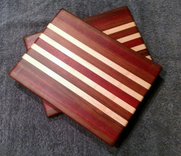 "Cheese Board 18 - 116. Jatoba, Padauk & Hard Maple. 8"" x 11"" x 5/8""."