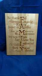 """CNC Sign 18 - 03 - Family. 12"""" x 16"""" x 3/4"""". Sold in it's first showing."""