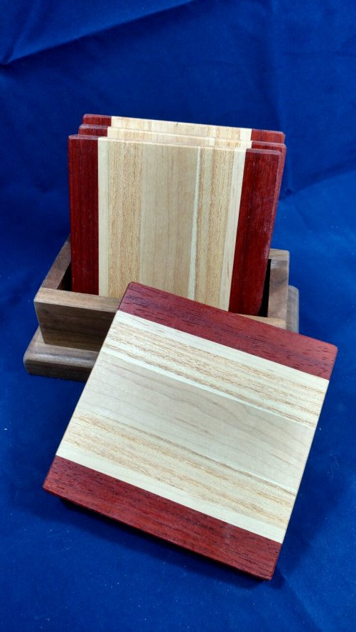 Coasters 18 - 09. Padauk, Honey Locust & Hard Maple.