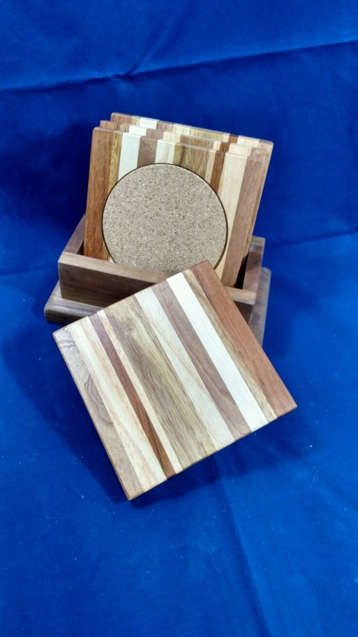 Coasters 18 - 13. Chaos. Jatoba, Black Walnut, Hard Maple, Sapele, Honey Locust & Cherry.