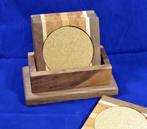 Coasters 18 - 24. Black Walnut, Hard Maple, Mesquite & Cherry.