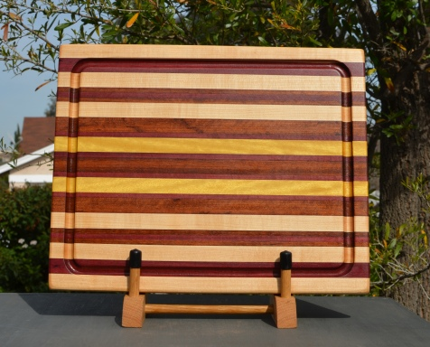 "Cutting Board 18 - 310. Hard Maple, Jatoba & Yellowheart. Edge Grain, Juice Groove. 14"" x 18"" x 1/1-4""."