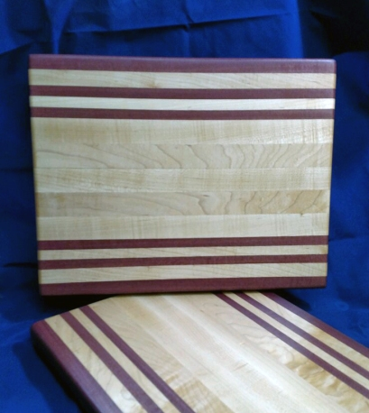 "Cutting Board 18 - 317. Purpleheart & Hard Maple. 12"" x 16"" x 1-1/8"". Edge grain."